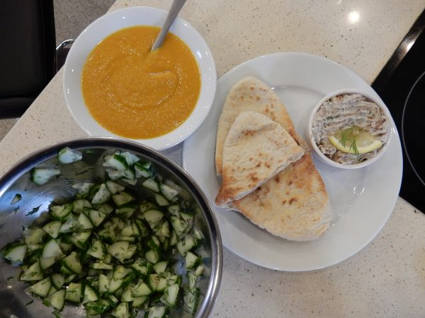 Spicy Parsnip Soup, Mackerel Pate with A Sweet and Sour Cucumber Salad