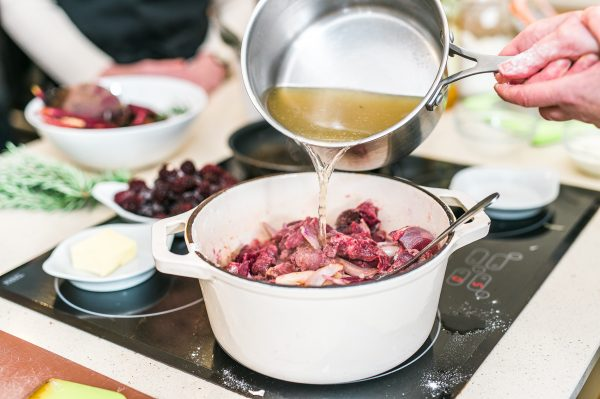 Venison, blackberry and beetroot casserole made on last years Modern British class
