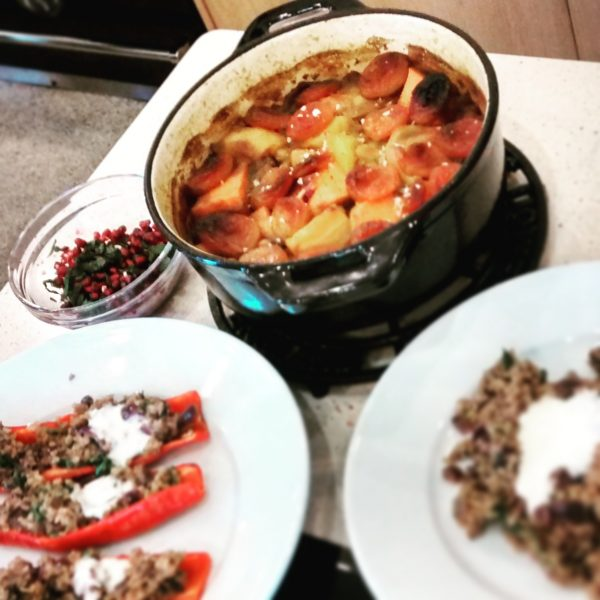 A Vegetarian Feast with Katie Beskow - Freekah pilaf stuffed Ramiro peppers with almonds and yoghurt & Autumn butternut, maple and apricot tagine